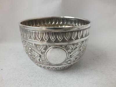 Antique Victorian Embossed Solid Sterling Silver Bowl 1891/ Dia 7.6 cm/ 74 g