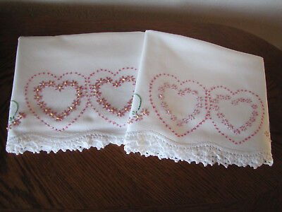 Vintage Pair of Pillowcases Embroidered Crocheted Heart Aster Wreaths Exquisite