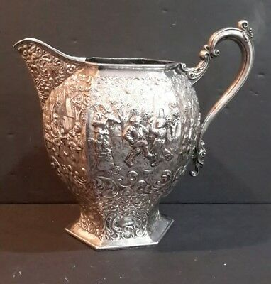 Antique Barbour Silver Plate Co Silverplate Repousse Ornate Water Pitcher #3027