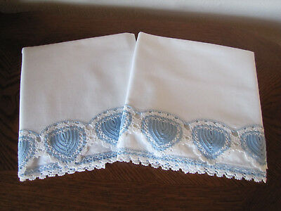 Vintage Pair Of Pillowcases White & Blue & White Hearts Crocheted Trim Exquisite