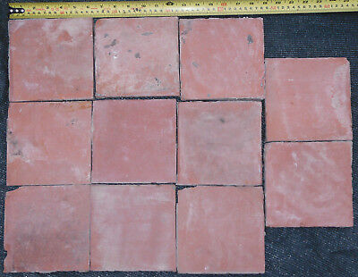 "Old Reclaimed Salvage Red Quarry Tiles for Floor or Fire Hearth 6"" x 6"""
