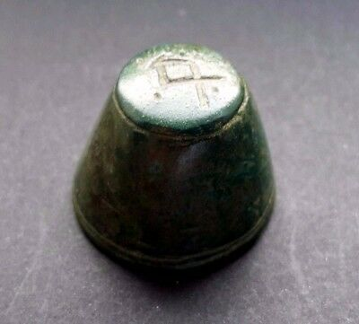 Byzantine Bronze Cone Design Coin Weight With Omega & Points 7Th - 10Th A.d.