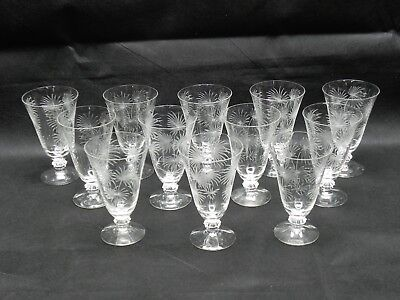 """Antique France Hand Cut Crystal Etched Champagne Glasses 5.5"""" Lot of 12"""