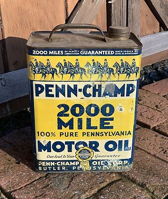 RARE VINTAGE Penn Champ Motor Oil 2 Gallon Oil Can Butler PA.