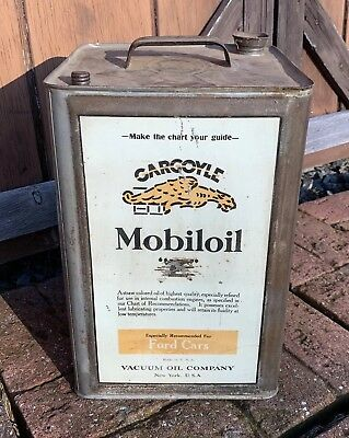RARE Early Mobiloil Gargoyle Motor Oil For Ford Cars 5 Gallon Oil Can 1920's