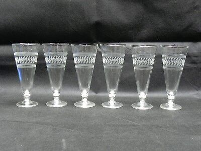 """Antique France Hand Cut Crystal Glass Etched Champagne Glasses 7.5"""" Lot of 6"""