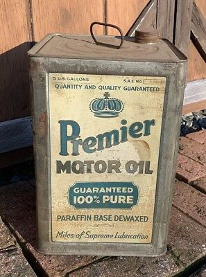 RARE Early Premier Motor Oil 5 Gallon Oil Can 1920's