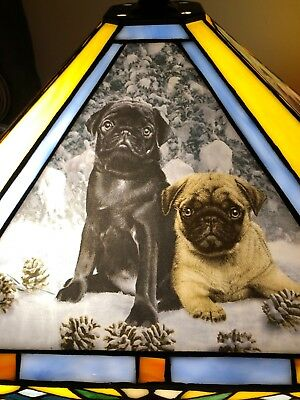 Rare Danbury Mint Pug Stained Glass Table Lamp Tiffany-Style Dog Simon Mendez