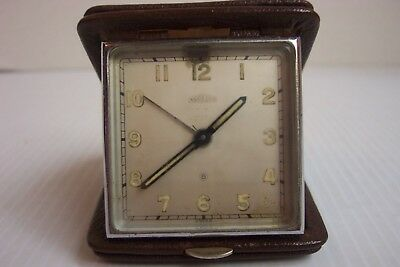 Vintage Angelus 8 Day Swiss Folding Travel Alarm Clock Leather Case  AS IS