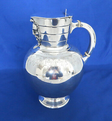 Museum Quality c1869 Chamberlayne Silverplate Pitcher by Martin Hall & Co.