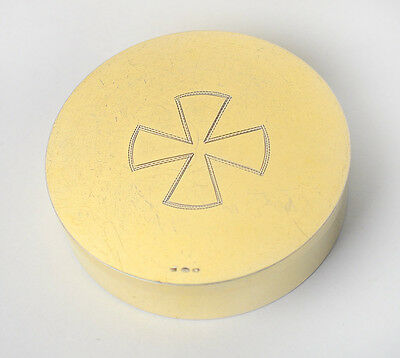 Large Gold Plated Solid Silver Pyx Communion Wafer Box, Austria, approx. 1930