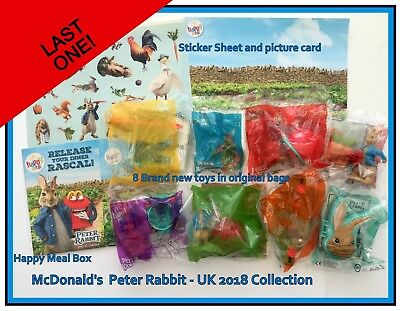McDonald's Happy Meal PETER RABBIT 2018 COMPLETE SET 8 Toys & Happy Meal Box