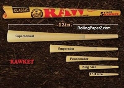 Raw Pre Rolled Rawket 5 Stage Cone Set Cigarette Rolling Papers Tobacco Smoke