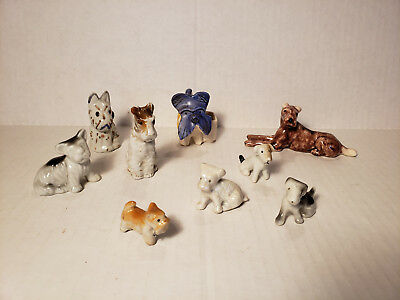Lot of 9 Vintage Terrier Dog Figures - Part of a Great Barn Find Collection