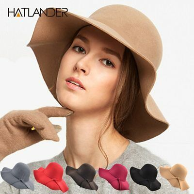 Fashion artificial wool Womens Pure Cashmere Solid Hats ladies winter warm Felt