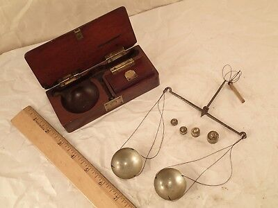 1800's Portuguese Boxed Travelling Gold or Apothecary Beam Pan Scale Balance