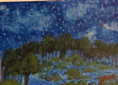 Starry Night ACEO original acrylic painting by artist ATC miniature Landscape