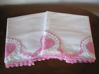 Vintage Pair Of Pillowcases White & Pink & White Hearts Crocheted Trim Exquisite