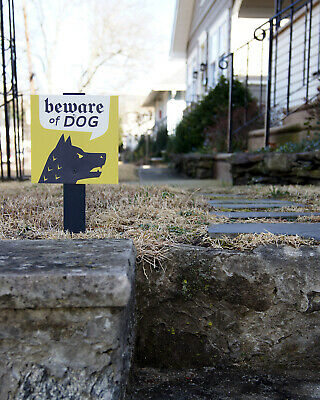"""Beware of Guard Dog Security Sign, 6"""" x 6"""" on Wooden Stake, for Yard Display"""