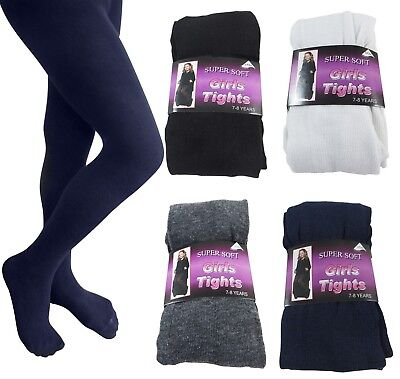 3 Pair Of Cotton Rich School Children Girls Super Soft Kids Party Footed Tights