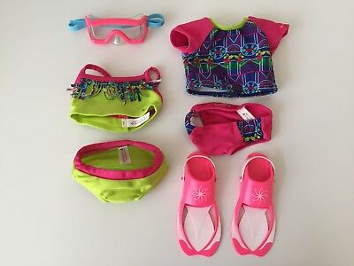 American Girl Doll Lea's Mix-and-Match Swimsuit Set + some beach accessories