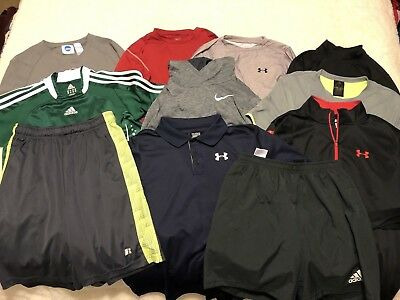 Lot of 9 shirts & 2 shorts - mostly Boys XL. Under Armour, Nike, Adidas, GREAT!