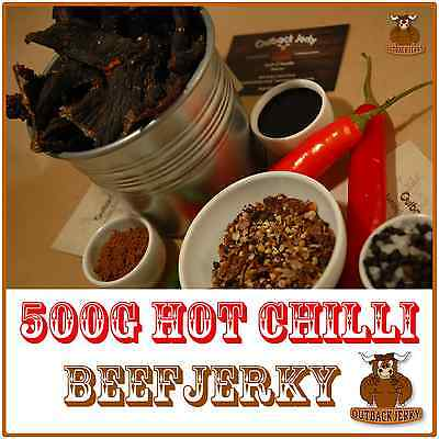 Beef Jerky Hot Chilli 500G Health Food Hi Protein Low Carb Preservative Free