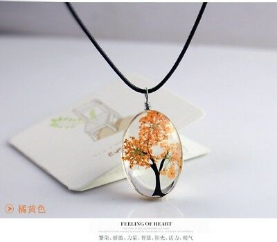 Tree of Life Oval Shape Pendant Necklaces Handmade Amber Glass