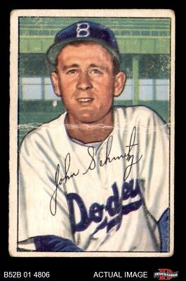 1952 Bowman #224 Johnny Schmitz Dodgers FAIR