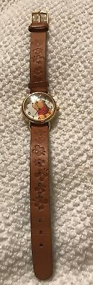 """Timex Disney  Winnie The Pooh  Watch Gold  Brown Leather Band 8"""""""