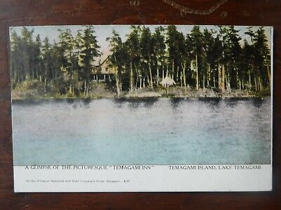 """1907 A Glimpse Of The Pictursque """"temagami Inn"""" Temagami Island Lake  Postcard"""