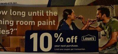 Lowes 10% Off Discount 1COUPON ~ Delivered in Seconds! ~ Use Online or In Store