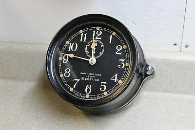 Seth Thomas WW2 Phenolic Case US Navy Mark 1 Deck Clock US Navy 1942 Mk1