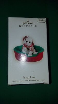 English Bulldog ornaments, 2 are alike and in orig boxes, 1 Hallmark in orig box