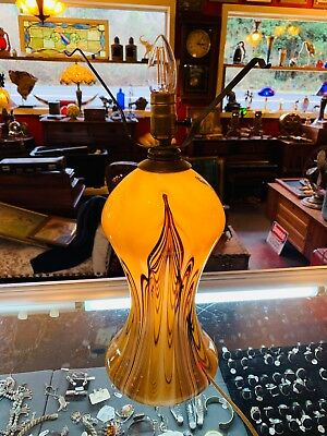 Beautiful signed Joe Clearman Swallowtail Studios Hand Blown Art Glass Lamp Base