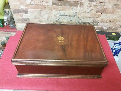 Antique Mahogany Inlayed Box.  Vgc
