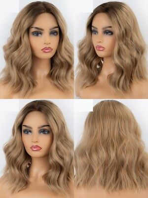 "14"" Fashion Heat Resistant Hair Short Wavy Lace Front Wig Ombre blonde"