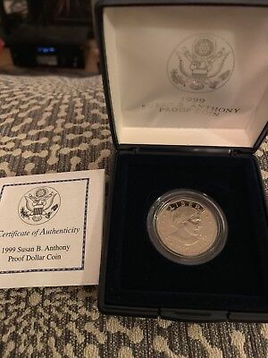 1999 US MINT Susan B. Anthony Dollar Proof Coin in Original Packaging with COA