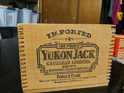 Yukon Jack Canadian Whisky Liqueur Dovetail Wood - Box Sliding Lid Wooden Crate