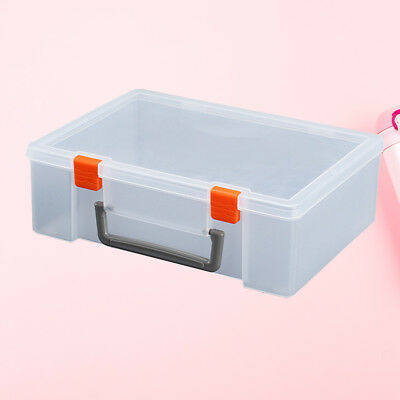 1pc Plastic Storage Bin Hinged Storage Case Container for Puzzles Crayons Blocks