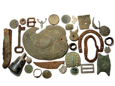 LOT of a BROAD VARIETY ANTIQUE, VINTAGE METAL DETECTOR BRONZE & IRON FINDS!!!
