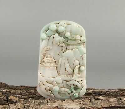 Chinese Exquisite Hand-carved landscape carving Jadeite jade Pendant