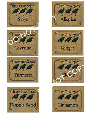 Primitive Farmhouse Vintage Spice Labels! Set #25