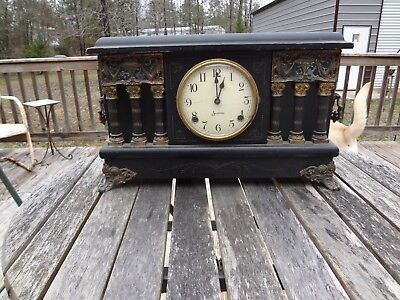 1920's Antique Sessions Mantle Clock Ornate With Six Columns