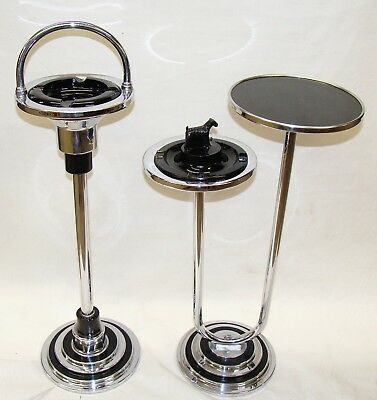 Vintage Chrome High Style  Art Deco Modernistic Floor Ashtray and smoking stand