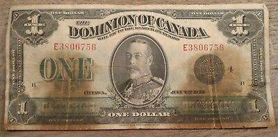 1923 Dominion of Canada $1 Large Size Note Series E. Black Seal. Pic #33O