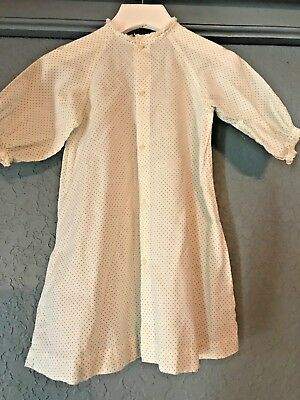 antique baby girl gown layette infant white blue polka dots