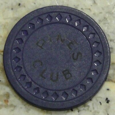 PINES CLUB -  HOT SPRINGS AR ILLEGAL CASINO CHIP BLUE $5.00 STRIKE OUT MOLD: Dia