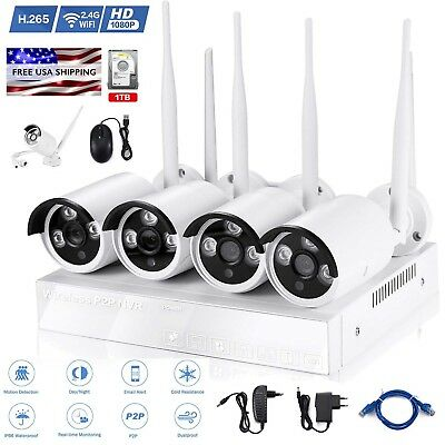 1080P 4CH NVR Wireless WiFi IP CCTV Outdoor Security Surveillance Camera Systems