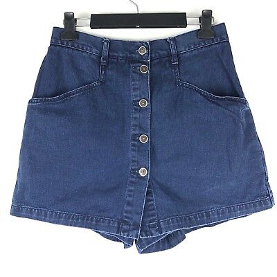 Vintage New York Line Button Fly High Waist Denim Skirt Skort Shorts Sz 12